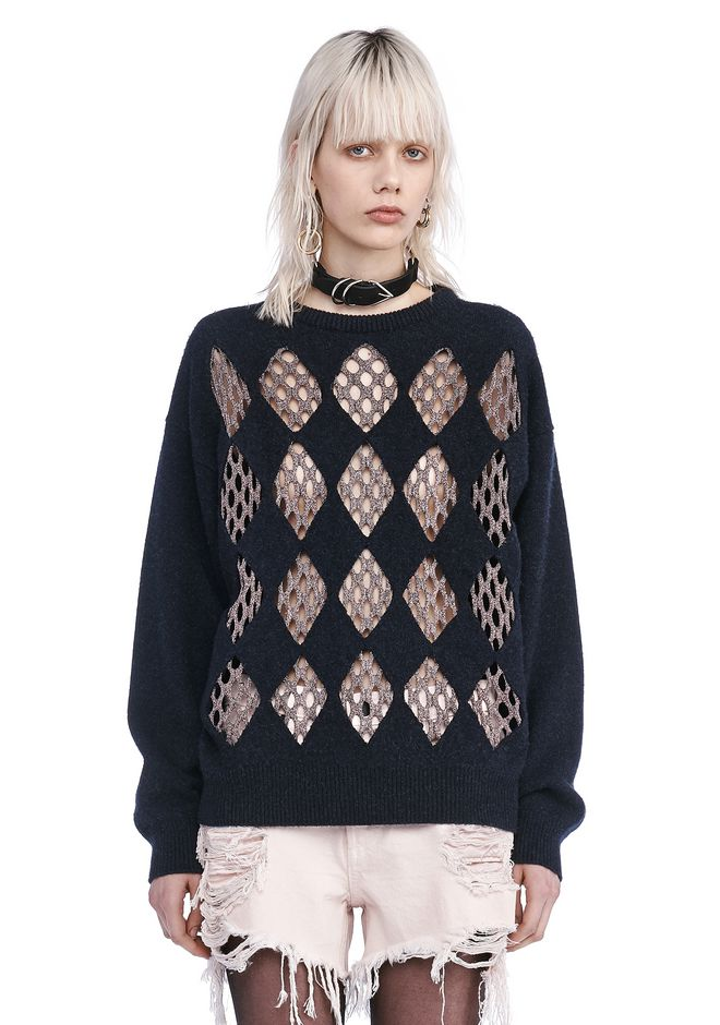ALEXANDER WANG TOPS CREW NECK PULLOVER WITH ARGYLE LUREX FISHNET