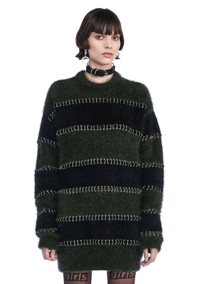 ALEXANDER WANG TOPS Women RUNWAY LONG SLEEVE RUGBY DRESS WITH RING PIERCINGS