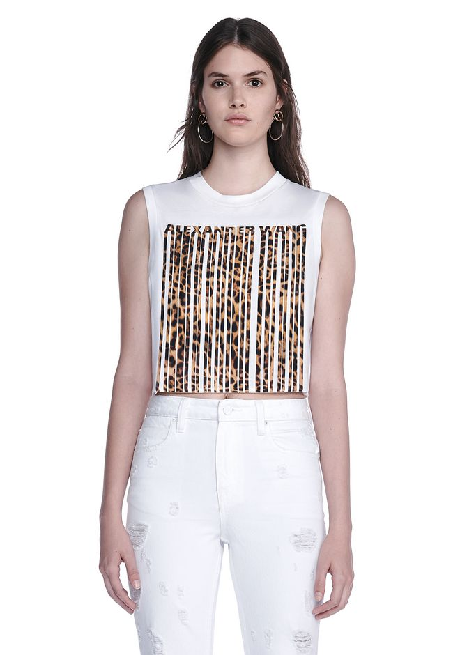 ALEXANDER WANG ready-to-wear-sale LEOPARD PRINT BONDED BARCODE CROP TOP