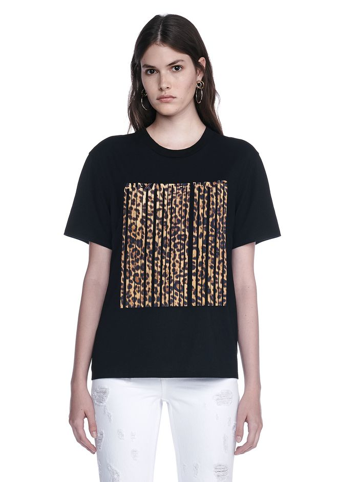 ALEXANDER WANG resort17-collection LEOPARD PRINT BONDED BARCODE TEE