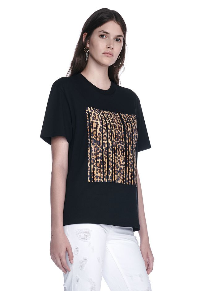 ALEXANDER WANG LEOPARD PRINT BONDED BARCODE TEE TOP Adult 12_n_a
