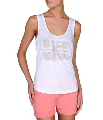 NAPAPIJRI SINT WOMAN SLEEVELESS T-SHIRT,BRIGHT WHITE