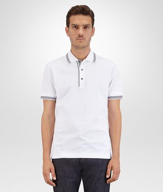BIANCO-DARK NAVY COTTON PIQUET POLO