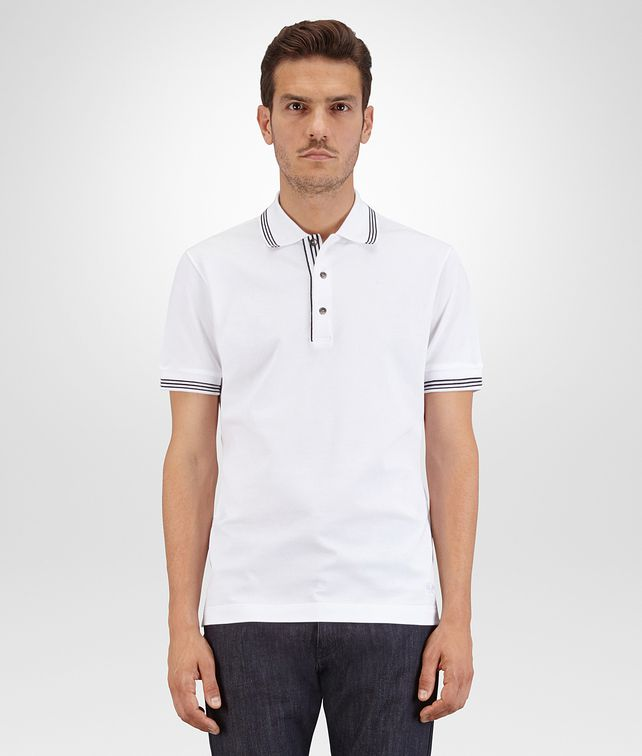 BOTTEGA VENETA POLO IN BIANCO COTTON PIQUET, DARK NAVY DETAILS Polo And Tee U fp