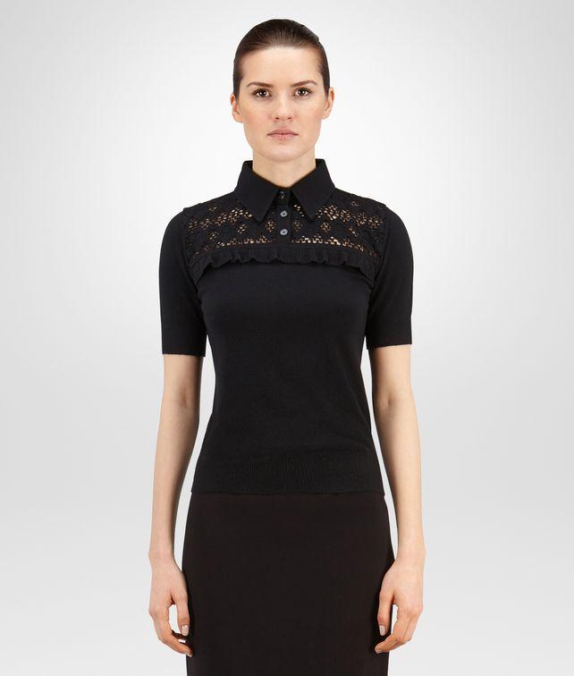 BOTTEGA VENETA SWEATER IN NERO CASHMERE, RUFFLE DETAIL Knitwear or Top or Shirt D fp