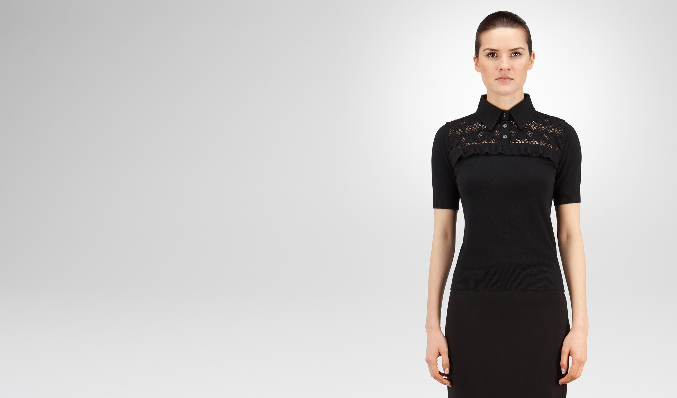 BOTTEGA VENETA Knitwear or Top or Shirt D SWEATER IN NERO CASHMERE, RUFFLE DETAIL pl