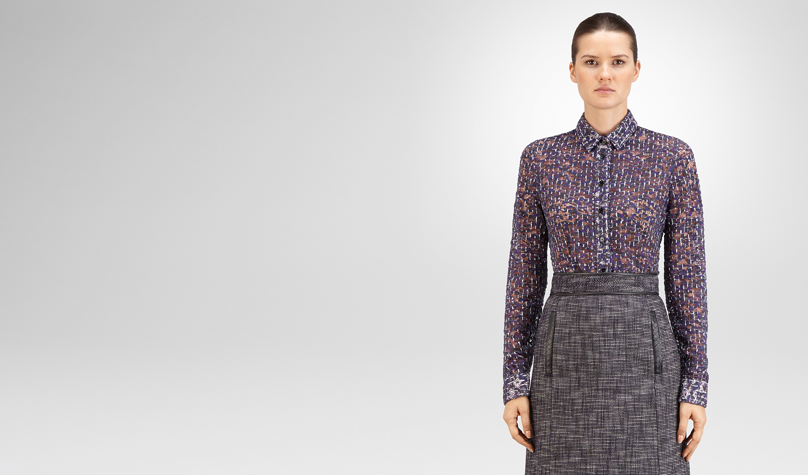 BOTTEGA VENETA Knitwear or Top or Shirt D SHIRT IN MIST PACIFIC VIOLET PRINTED LACE pl