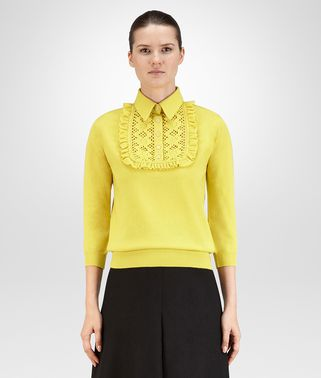 SWEATER IN CITRINE CASHMERE, RUFFLE DETAILS