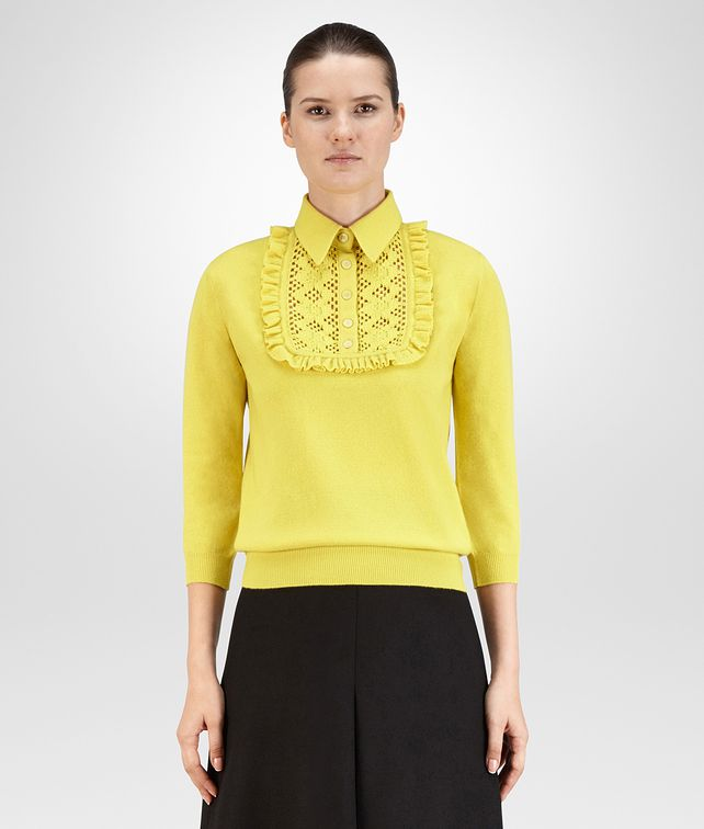 BOTTEGA VENETA SWEATER IN CITRINE CASHMERE, RUFFLE DETAILS Knitwear or Top or Shirt D fp