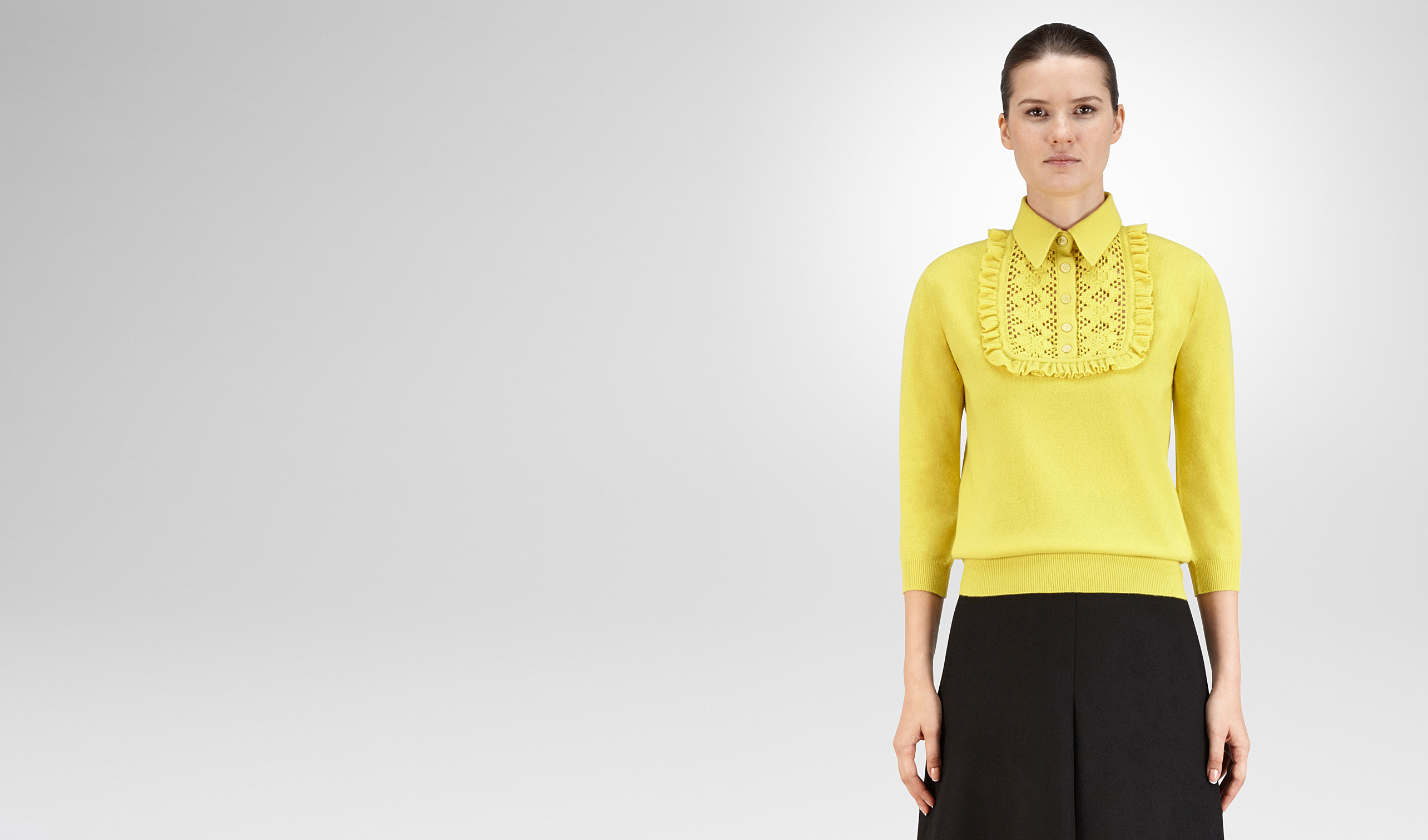 BOTTEGA VENETA Knitwear or Top or Shirt D SWEATER IN CITRINE CASHMERE, RUFFLE DETAILS pl