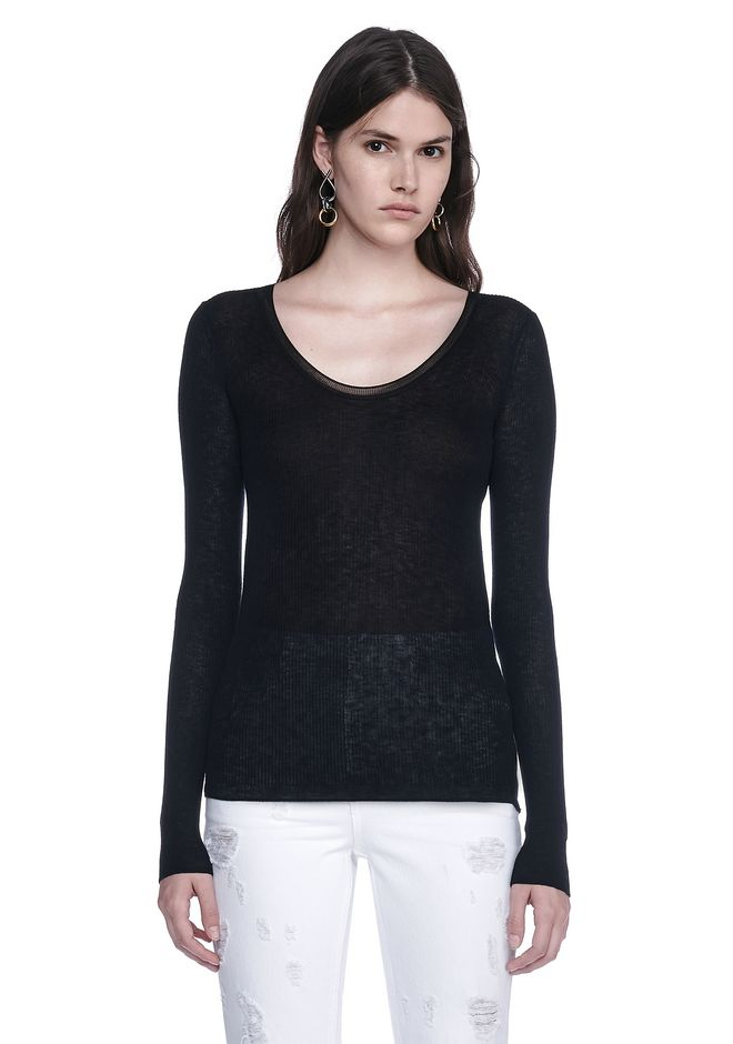 T by ALEXANDER WANG knitwear-t-by-alexander-wang-woman RIBBED LONG SLEEVE SCOOP NECK KNIT TOP