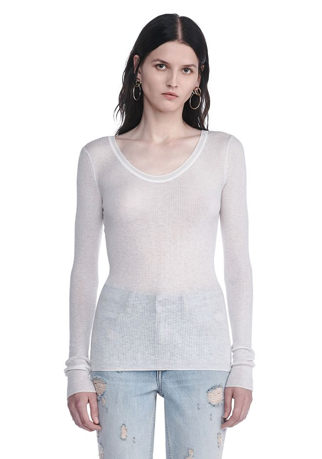 T by ALEXANDER WANG new-arrivals-t-by-alexander-wang-woman RIBBED LONG SLEEVE SCOOP NECK KNIT TOP