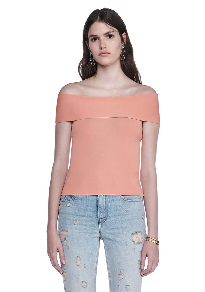 T by ALEXANDER WANG TOPS FITTED OFF THE SHOULDER TOP