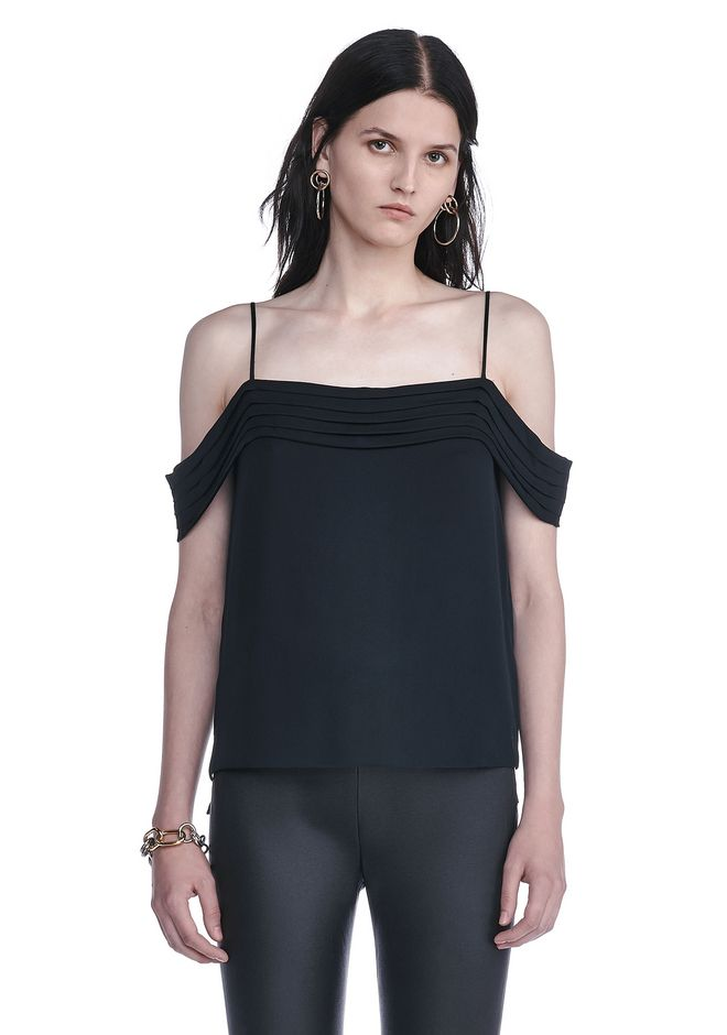 T by ALEXANDER WANG TOPS Women SILK GEORGETTE PLEATED OFF THE SHOULDER TOP