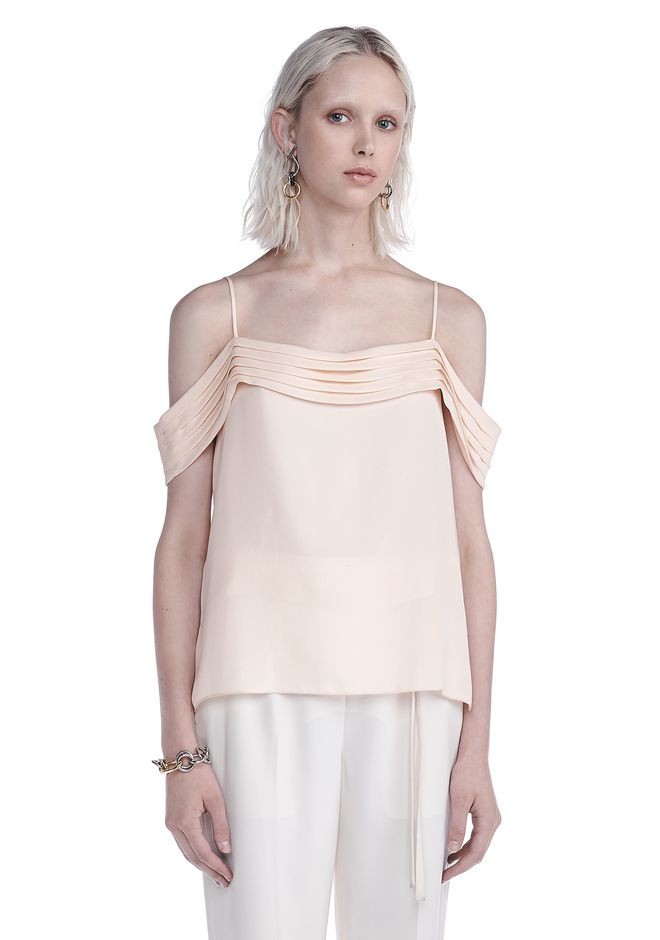T by ALEXANDER WANG TOPS SILK GEORGETTE PLEATED OFF THE SHOULDER TOP
