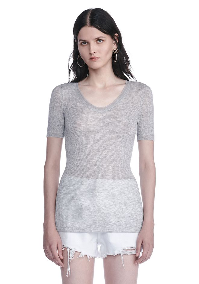 T by ALEXANDER WANG TOPS Women RIBBED SHORT SLEEVE SCOOP NECK KNIT TOP