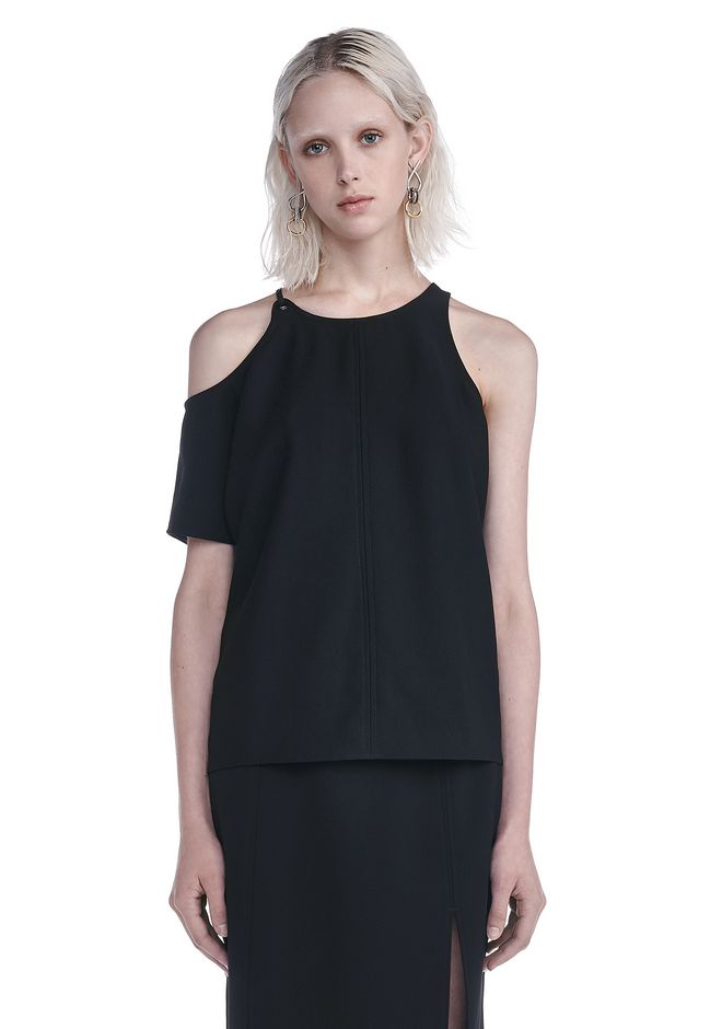 T by ALEXANDER WANG TOPS MATTE POLY CREPE ASYMMETRICAL TOP