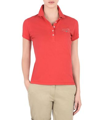 NAPAPIJRI ELMA WOMAN SHORT SLEEVE POLO,CORAL