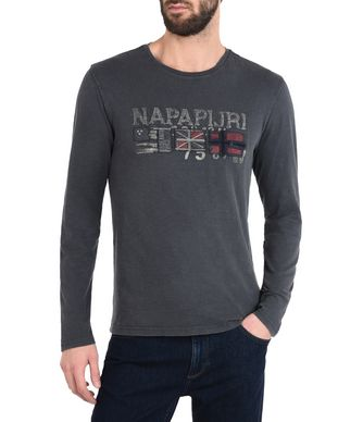 NAPAPIJRI SHEDIN MAN LONG SLEEVE T-SHIRT,LEAD