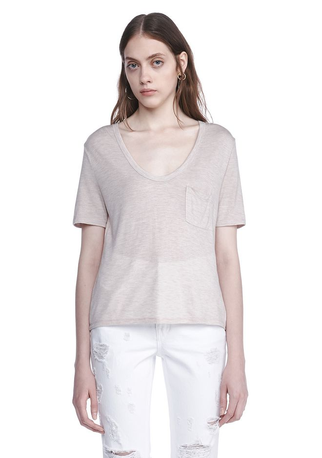 T by ALEXANDER WANG new-arrivals CLASSIC CROPPED TEE WITH POCKET