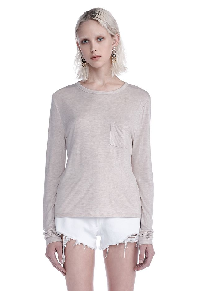 T by ALEXANDER WANG new-arrivals-t-by-alexander-wang-woman CLASSIC CROPPED LONG SLEEVE TEE