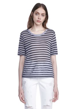 CROPPED STRIPE LINEN SHORT SLEEVE TEE