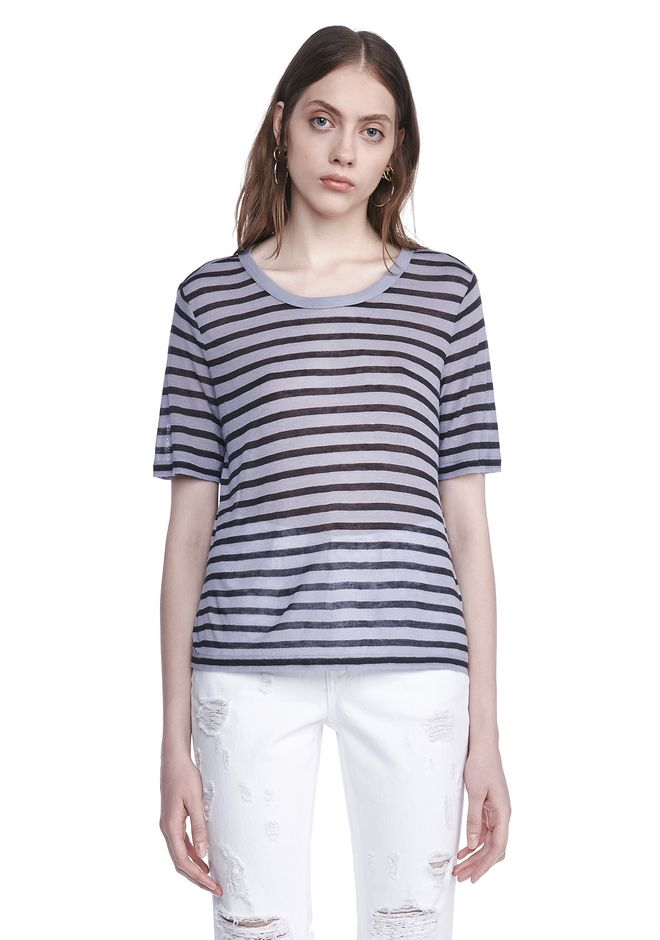 T by ALEXANDER WANG new-arrivals-t-by-alexander-wang-woman CROPPED STRIPE LINEN SHORT SLEEVE TEE