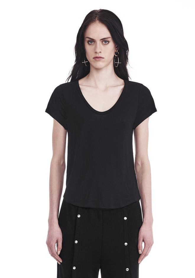 T by ALEXANDER WANG womens-classics V-NECK CAP SLEEVE TEE
