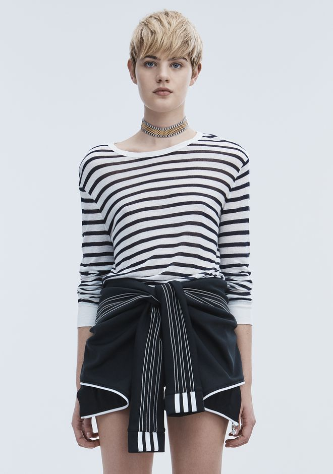 T by ALEXANDER WANG womens-classics STRIPE LINEN LONG SLEEVE TEE