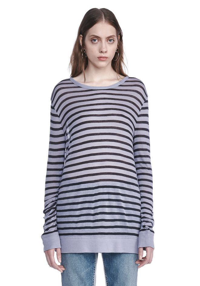 T by ALEXANDER WANG new-arrivals-t-by-alexander-wang-woman STRIPE LINEN LONG SLEEVE TEE