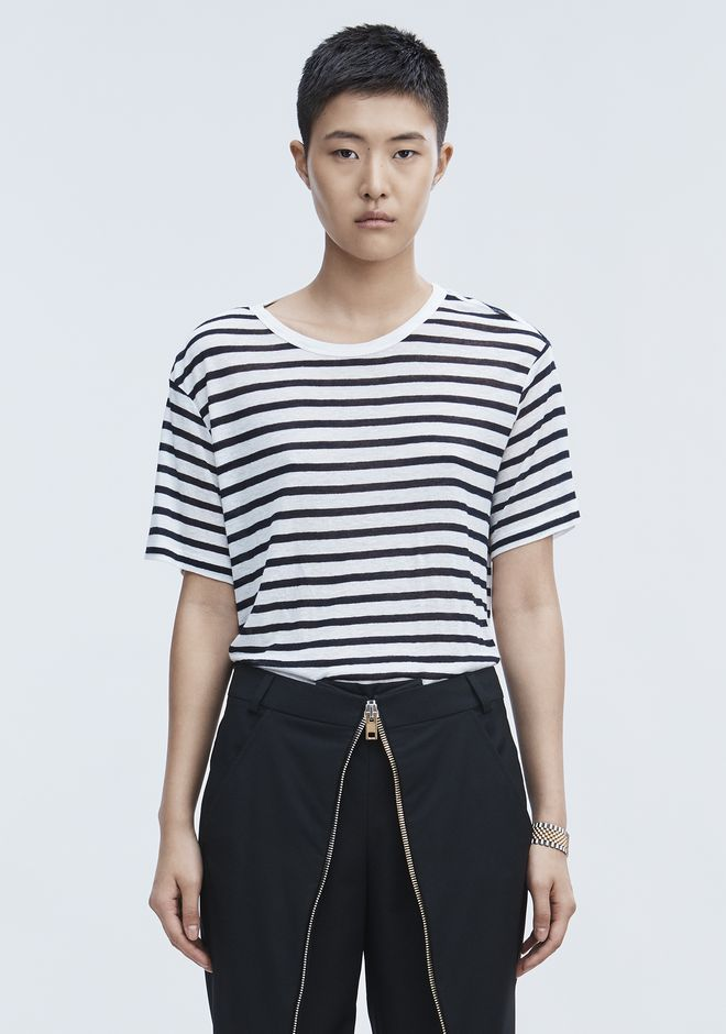 T by ALEXANDER WANG STRIPE LINEN SHORT SLEEVE TEE Short sleeve t-shirt Adult 12_n_e
