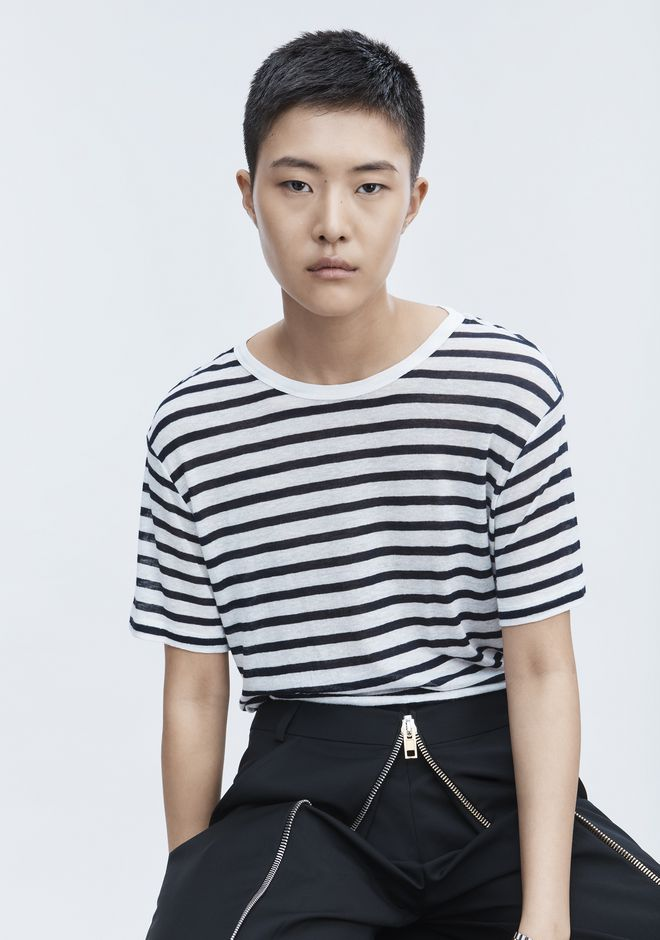 T by ALEXANDER WANG STRIPE LINEN SHORT SLEEVE TEE Short sleeve t-shirt Adult 12_n_r