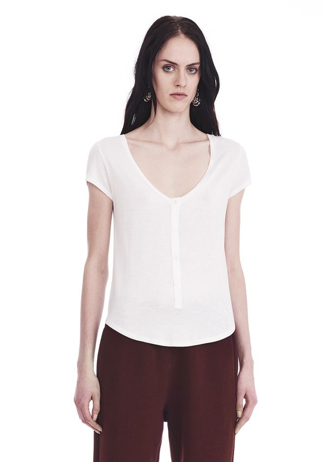 T by ALEXANDER WANG TOPS CAP SLEEVE LOW NECK HENLEY TEE