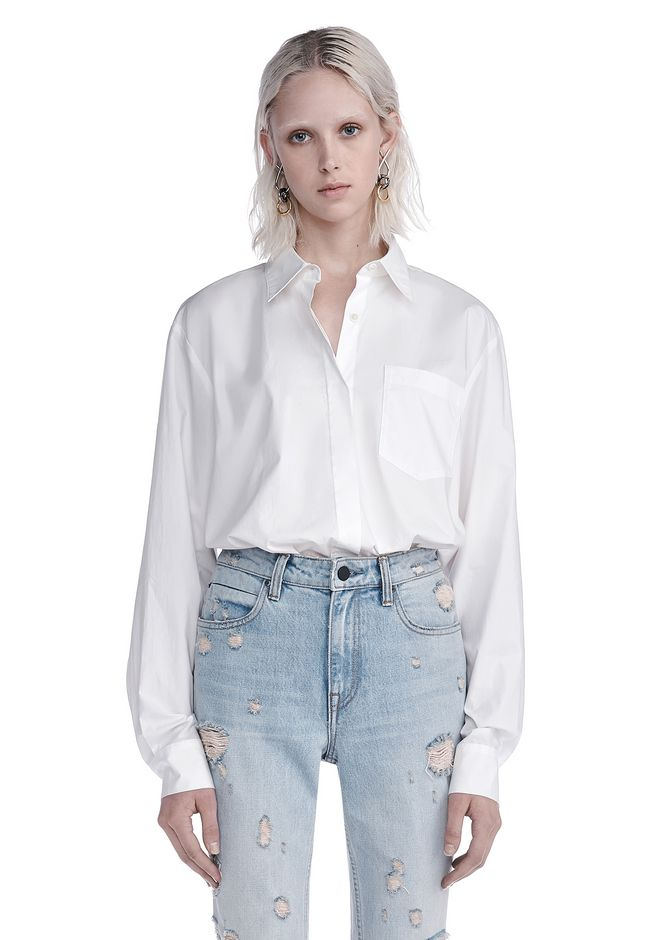 T by ALEXANDER WANG TOPS COTTON POPLIN LONG SLEEVE SHIRT BODYSUIT