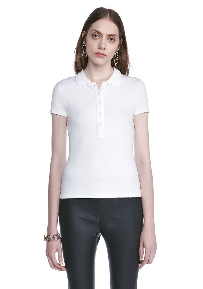 T by ALEXANDER WANG TOPS Women STRETCH SHORT SLEEVE POLO TEE
