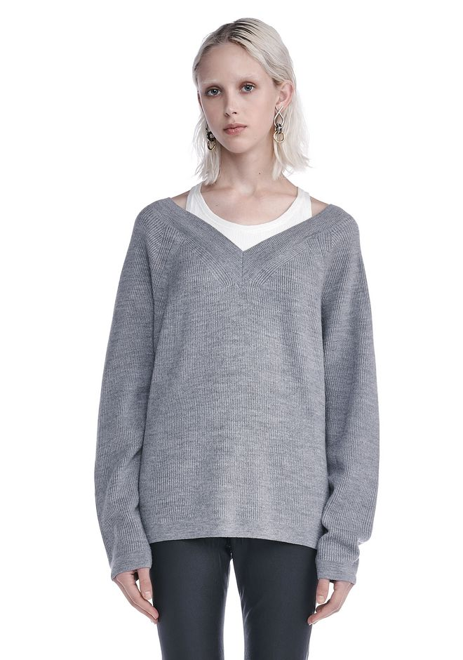 T by ALEXANDER WANG TOPS V-NECK SWEATER WITH INNER COTTON TANK