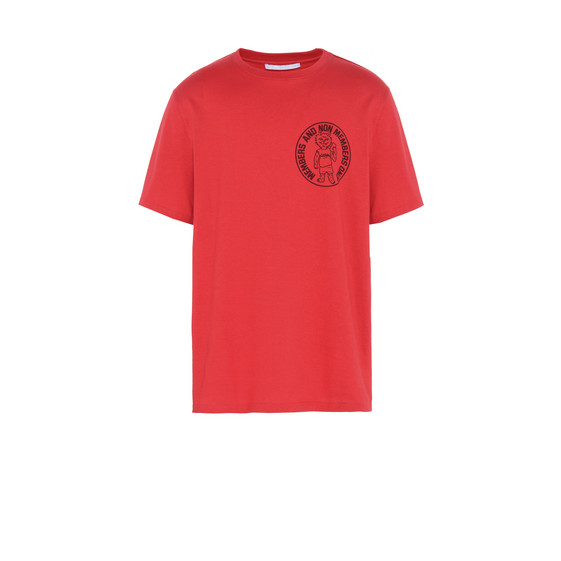 T-shirt Rossa con Stampa Members