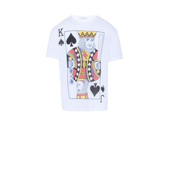 ホワイト プレイング カーズ プリント Tシャツ