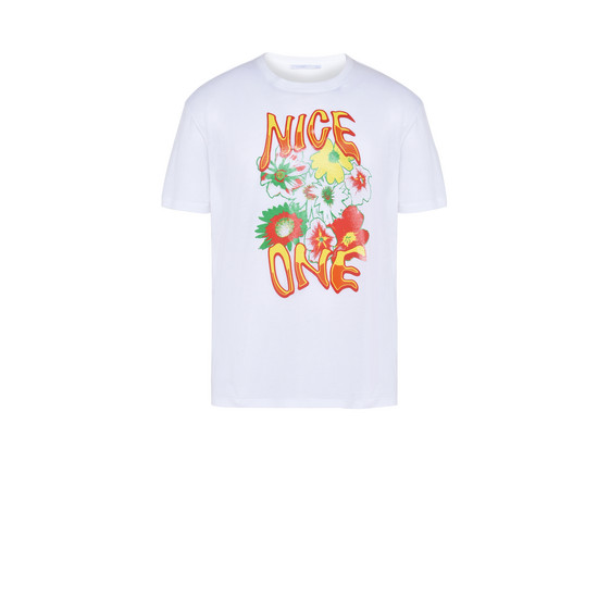 White Nice One Print T-shirt