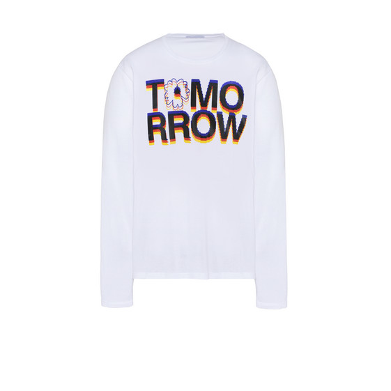 White Tomorrow Print Long T-shirt