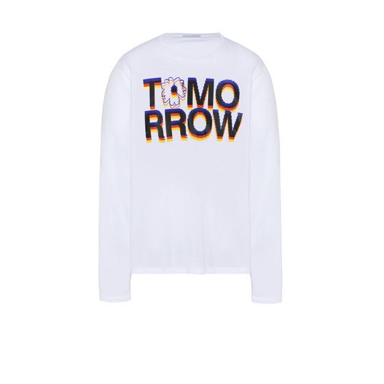 ホワイト トゥモロー プリント ロング Tシャツ