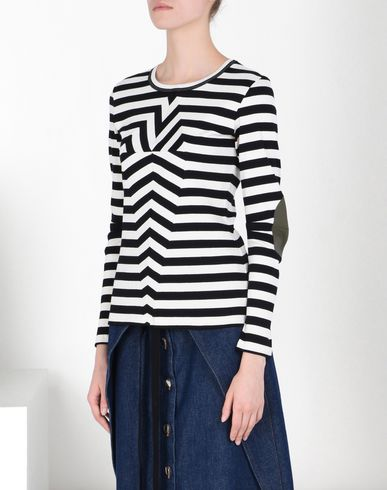 MM6 by MAISON MARGIELA Long sleeve t-shirt D Striped rib jersey tee-shirt with elbow details f