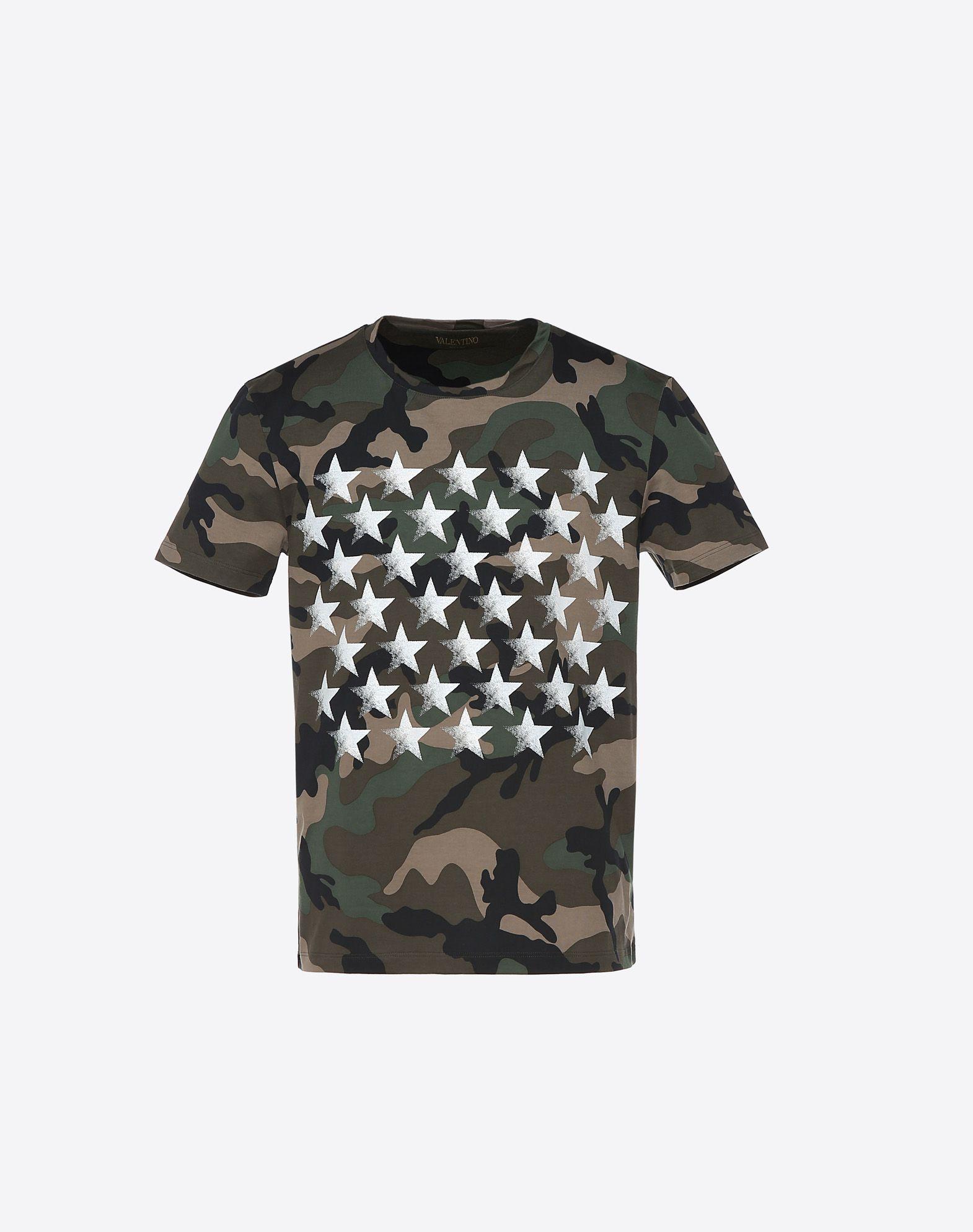VALENTINO Print Jersey Camouflage design Round collar Short sleeves  37958160ud