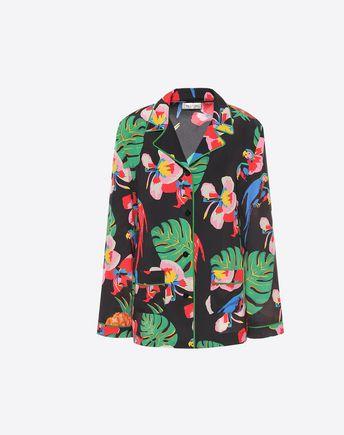 VALENTINO Camisa estampada de crespón de China 37960575OO