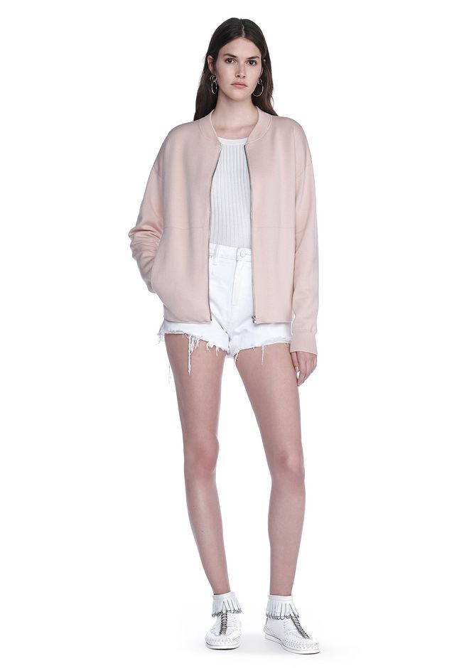 ALEXANDER WANG BOMBER JACKET WITH SEAMLESS POCKET TOP Adult 12_n_f