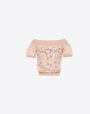 VALENTINO Viscose and Heavy Lace Top  37963455VH