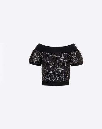 VALENTINO Viscose and Heavy Lace Top  37965727MN