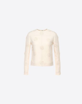 VALENTINO Top bordado de Crêpe Couture 37970244XA