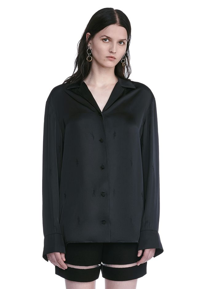 ALEXANDER WANG new-arrivals-ready-to-wear-woman EXOTIC DANCER PAJAMA SHIRT WITH HAWAIIAN SHIRT COLLAR