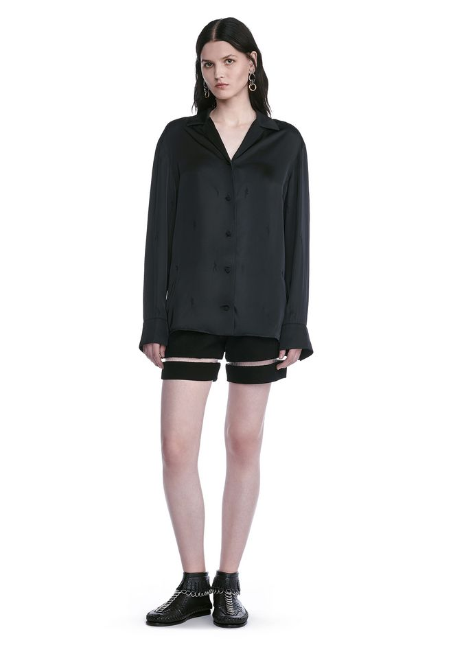 ALEXANDER WANG TOPS EXOTIC DANCER PAJAMA SHIRT WITH HAWAIIAN SHIRT COLLAR